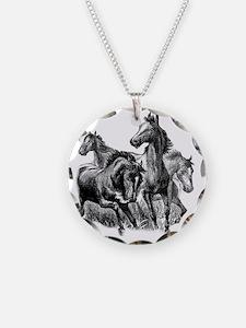 4 Horse Illustration Necklace