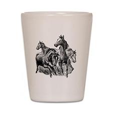 4 Horse Illustration Shot Glass