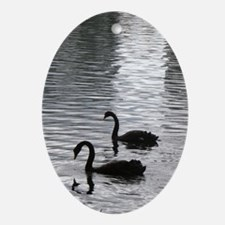 swans Oval Ornament