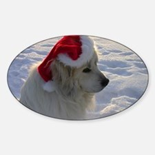 Great Pyrenees with Santa Hat Decal