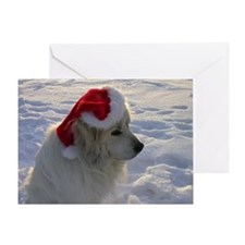 Great Pyrenees with Santa Hat Greeting Card