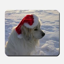 Great Pyrenees with Santa Hat Mousepad