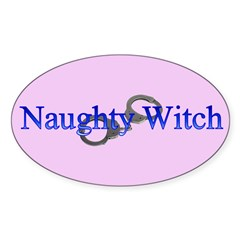 Naughty Witch Oval Decal