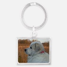 Adorable great pyrenese Landscape Keychain