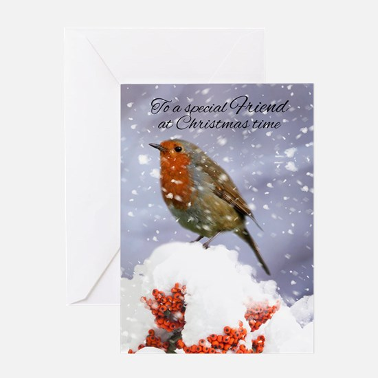 Winter Holiday Robin In The Snow Greeting Card