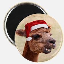 Smiley Christmas Alpaca Magnet