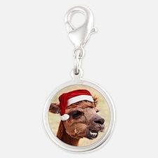 Smiley Christmas Alpaca Silver Round Charm