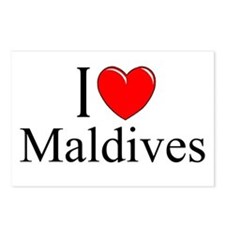 """I Love Maldives"" Postcards (Package of 8)"