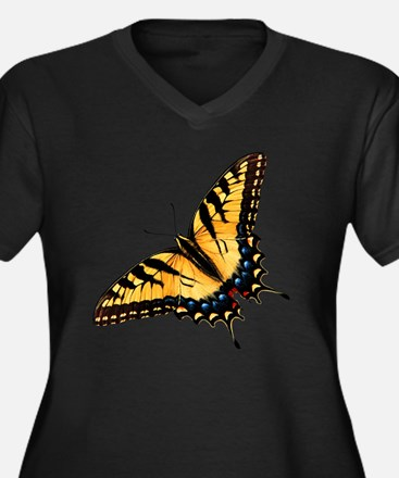 tigerSwallow Women's Plus Size Dark V-Neck T-Shirt