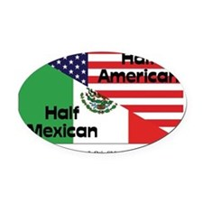 mexican-american Oval Car Magnet