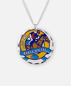 horse jockey race racing cir Necklace