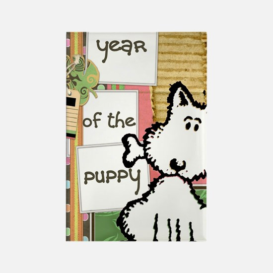 dog  bone year of the puppy Rectangle Magnet