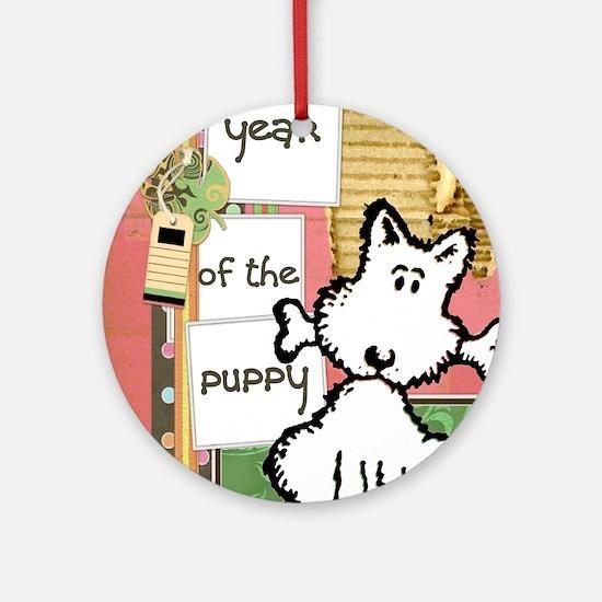 dog  bone year of the puppy Round Ornament