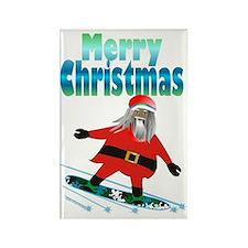 Snowboard Santa Rectangle Magnet