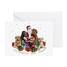 Labs With Santa Naughty Or Nice Gifts Greeting Car