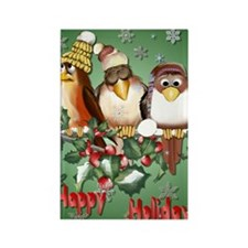 Happy Holiday Christmas Birds Pos Rectangle Magnet