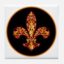 FilagreeGoldLfleur1Br Tile Coaster