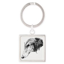 Borzoi Head Sketch_edited-1 Square Keychain