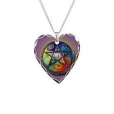 pentacle elements i-phone sli Necklace Heart Charm