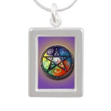 pentacle elements i-phon Silver Portrait Necklace