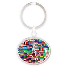 Flag Collage Oval Keychain
