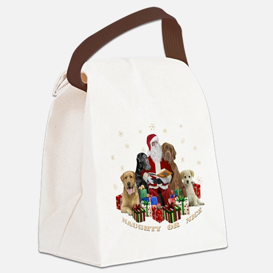 Labs with Santa Naughty or Nice gifts Canvas Lunch