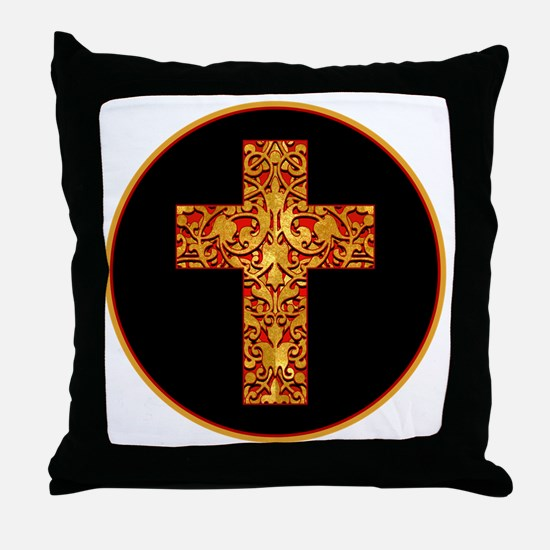 GoldLeafCrossBr Throw Pillow