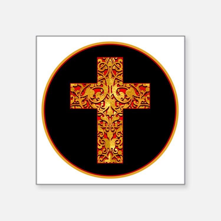 "GoldLeafCrossBr Square Sticker 3"" x 3"""