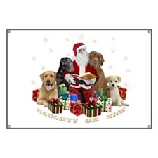 Labs with Santa Naughty or Nice gifts Banner