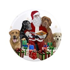 """Labs with Santa Naughty or Nice gifts 3.5"""" Button"""