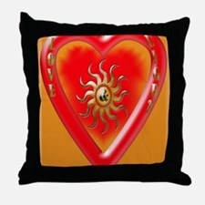 love and liught gold heart Throw Pillow