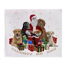 Labs With Santa Naughty Or Nice Gifts Throw Blanke