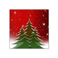 """Christmas Trees with Stars Square Sticker 3"""" x 3"""""""