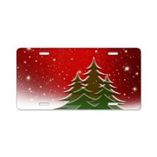 Christmas Trees with Stars Aluminum License Plate