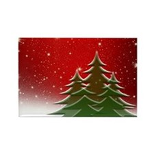 Christmas Trees with Stars Rectangle Magnet
