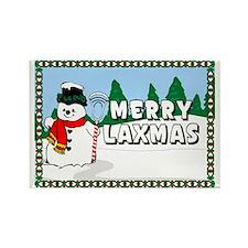 Lacrosse_MerryLaxmas_Snowman Rectangle Magnet