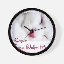 white cat shirt Wall Clock
