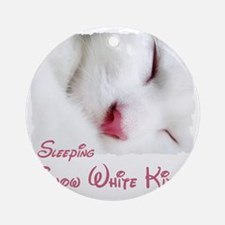 white cat shirt Round Ornament