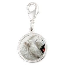 White Lion mousepad Silver Round Charm