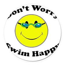 Don't Worry Swim Happy Round Car Magnet