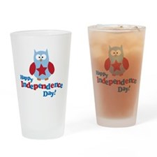 Happy Independence Day Owl Drinking Glass