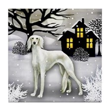SALUKI DOG SNOWY DAY Tile Coaster