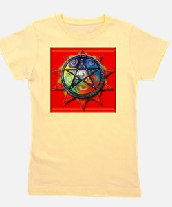 4 elements pentacle red sq Girl's Tee