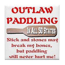 sticksandstones_paddling_redfont_tran Tile Coaster