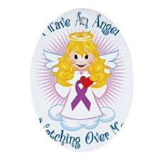 Angel-Watching-Over-Me-Purple-Ribbon Oval Ornament
