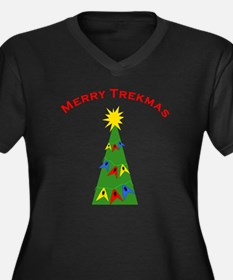merry trekma Women's Plus Size Dark V-Neck T-Shirt
