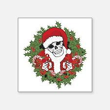 """Santa Skull with Wreath Square Sticker 3"""" x 3"""""""