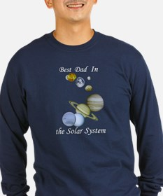 Best Dad in Solar System Long Sleeve Navy T-Shirt