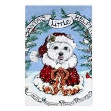 Westie claus7.5x5.5 Postcards (Package of 8)