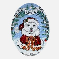Westie claus7.5x5.5 Oval Ornament